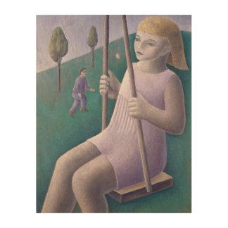Girl on Swing 1996 Wood Wall Art