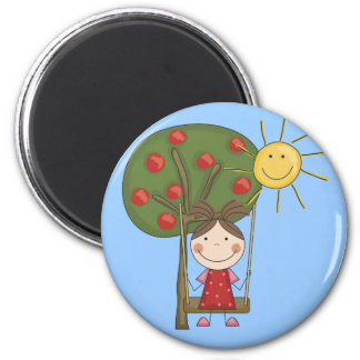 Girl on Swing  T-shirts and Gifts 2 Inch Round Magnet