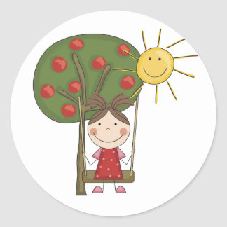 Girl on Swing  T-shirts and Gifts Classic Round Sticker