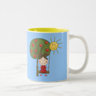 Girl on Swing  T-shirts and Gifts Two-Tone Coffee Mug