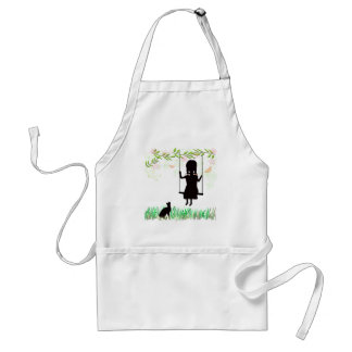 Girl on Swing with Cat Apron