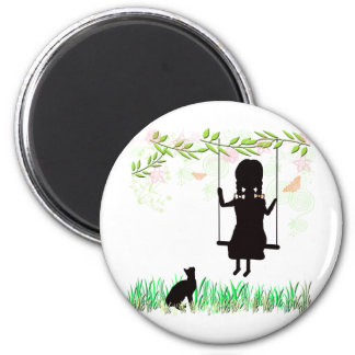 Girl on Swing with Cat Magnet