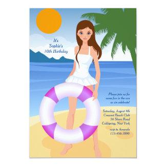 Girl On The Beach Invitation