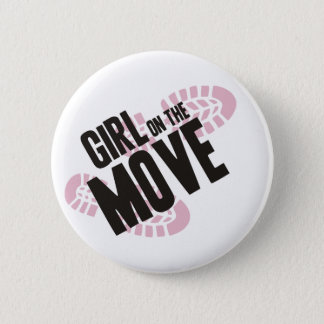 Girl on the Move Pinback Button