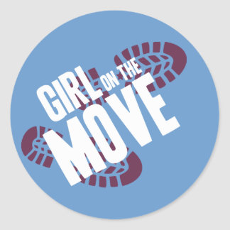 Girl on the Move Round Stickers