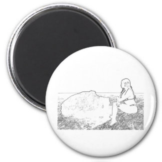 Girl on the rock 2 inch round magnet