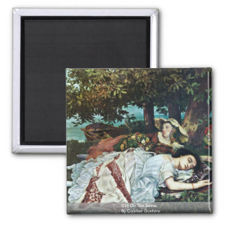 Girl On The Seine,  By Courbet Gustave 2 Inch Square Magnet