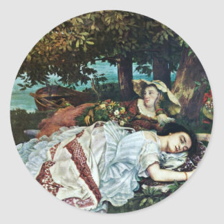 Girl On The Seine,  By Courbet Gustave Classic Round Sticker