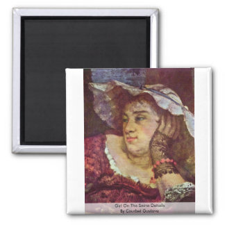 Girl On The Seine Details By Courbet Gustave 2 Inch Square Magnet