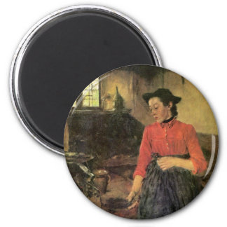 Girl On The Stove By Leibl Wilhelm (Best Quality) Magnet