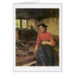 Girl On The Stove By Wilhelm Leibl Greeting Card