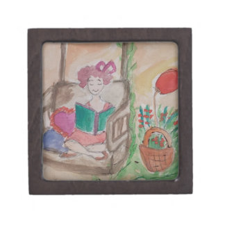 girl on the swing reading book gift box