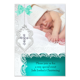 Girl or Boy Baptism Jade Teal White Lace Photo Invite