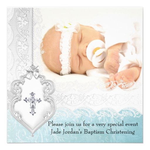 Girl or Boy Baptism Teal White Lace Photo Cross Invitation