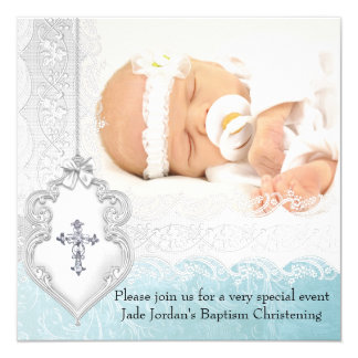 Girl or Boy Baptism Teal White Lace Photo Cross 5.25x5.25 Square Paper Invitation Card