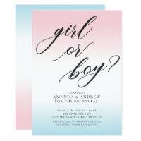 Girl or Boy Gender Reveal Baby Shower Invitation