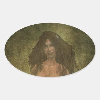 Girl Oval Sticker