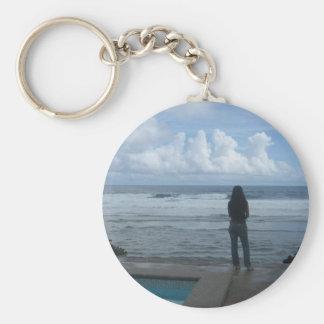 Girl overlooking the ocean basic round button keychain