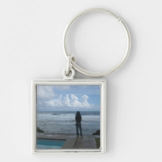 Girl overlooking the ocean Silver-Colored square keychain