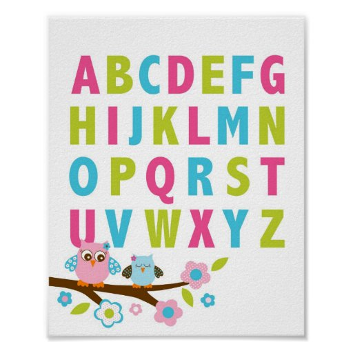 Girl Owl Alphabet Nursery Wall Art Print