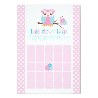 Girl Owl Baby Shower Bingo Cards