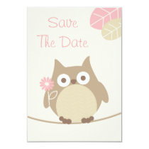 Girl Owl Baby Shower Save The Date Card