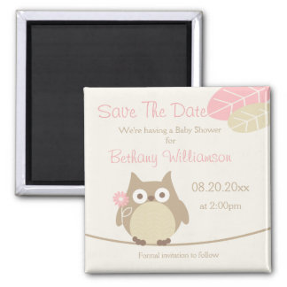 Girl Owl Baby Shower Save The Date Magnet