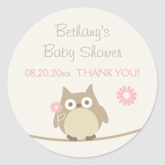 Girl Owl Baby Shower Thank You Classic Round Sticker