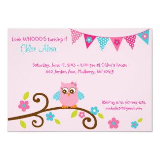 Pink Owl Birthday Invitations & Announcements | Zazzle