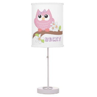 Girl owl cute table lamp
