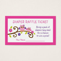 Girl Owl Diaper Raffle Tickets