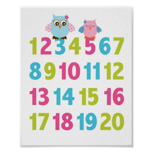 Girl Owl Number Nursery Wall Art Print