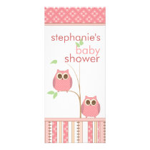 Girl Owl Pink Baby Shower Menu Card