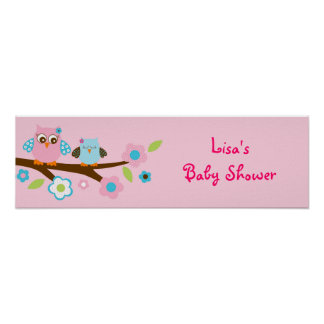 Girl Owl Pink Turquoise Baby Shower Banner Sign