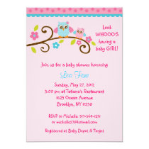 Girl Owl Pink Turquoise Baby Shower Invitations