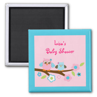 Girl Owl Pink Turquoise Party Favor Magnets