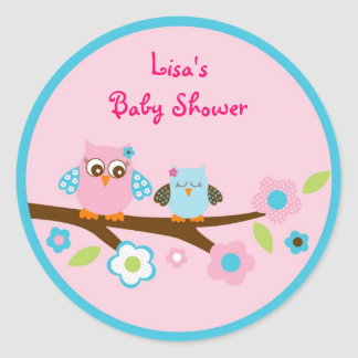 Girl Owl Pink Turquoise Stickers Envelope Seals