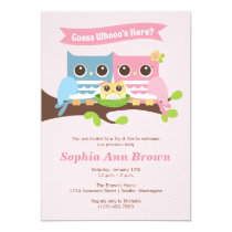 Girl Owl Sip and See Baby Shower Invitation
