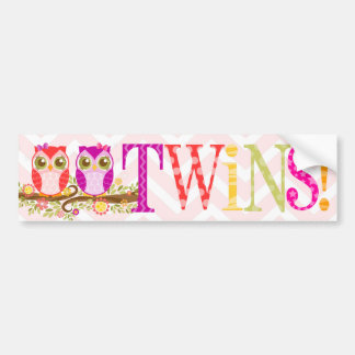 Girl Owl TWINS! Bumper Sticker Car Bumper Sticker