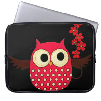 Girl Owl with Flowers Laptop Sleeve