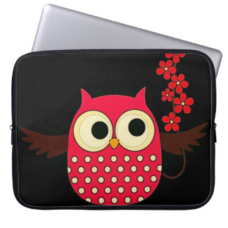 Girl Owl with Flowers Laptop Sleeves