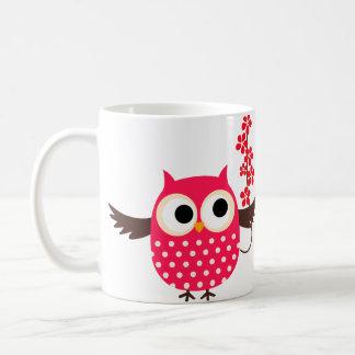 Girl Owl with Flowers Classic White Coffee Mug
