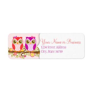 Girl Owls - Custom Return Address Labels