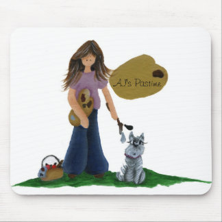 girl painter mouse pad