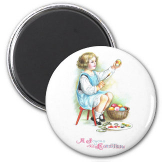Girl Painting Eggs Vintage Easter 2 Inch Round Magnet