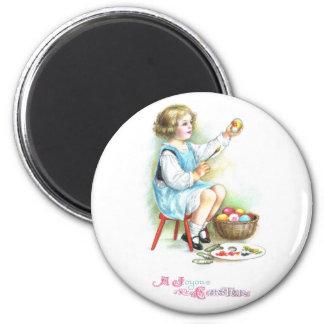 Girl Painting Eggs Vintage Easter Magnet