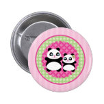 Girl Panda Bear Button