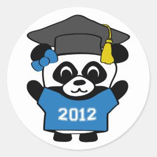 Girl Panda Blue & White 2012 Grad Classic Round Sticker