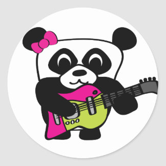 Girl Panda Guitar Fun Round Sticker