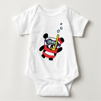 Girl Panda in Bikini Snorkling Baby Bodysuit